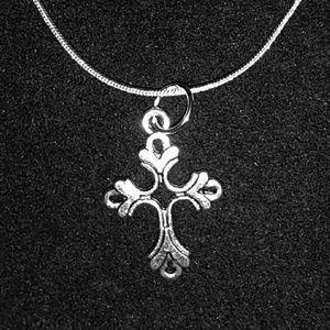 Fleur De lis Cross .925 Sterling Silver Necklace